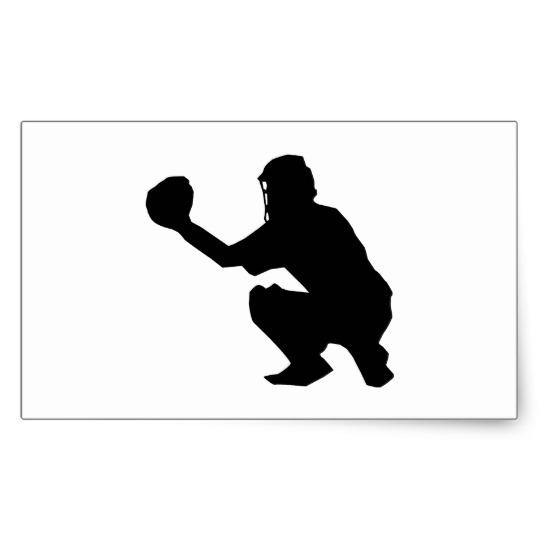 540x540 Black Baseball Catcher Silhouette Rectangular Sticker