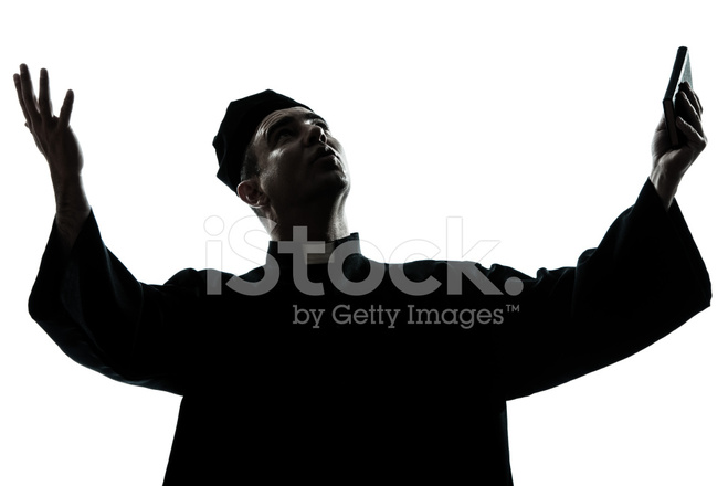 659x440 Man Priest Praying Silhouette Stock Photos