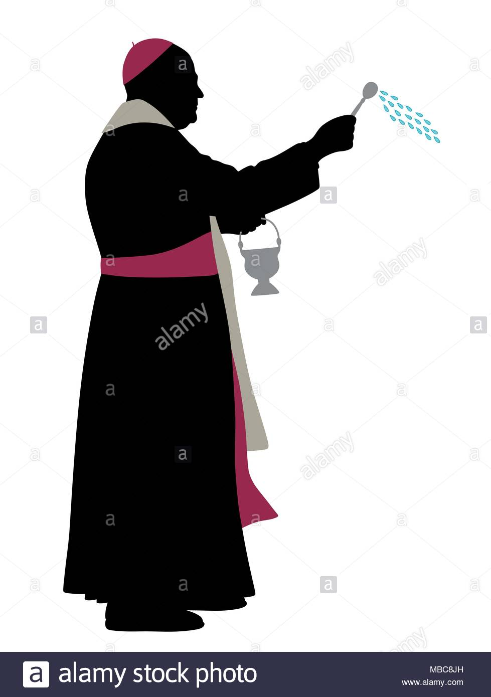 979x1390 Catholic Bishop Sprinkling Holy Water Stock Vector Art