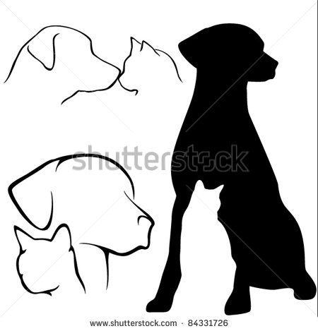 450x469 Dog Amp Cat Silhouettes Dogs Cat Silhouette, Dog Cat