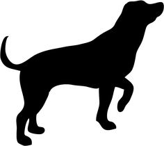236x210 A Black Silhouette Of A Sitting Dog Holding It S Leash In It S