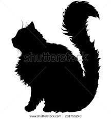 216x233 Silhouette Vector Illustrations Of Silhouette Of Black Furry Cat