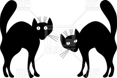 400x267 Black Cats Silhouettes Royalty Free Vector Clip Art Image
