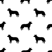 173x173 Australian Cattle Dog Floral Silhouette Dog Breed Pattern Mint