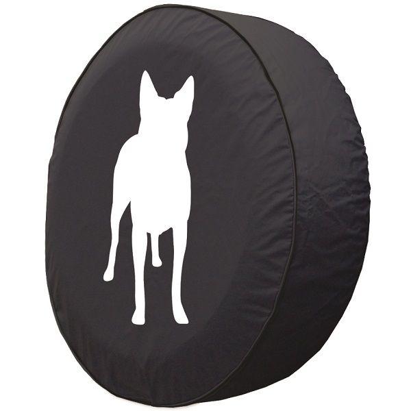 600x600 Cattle Dog Silhouette Tire Cover On Black Vinyl