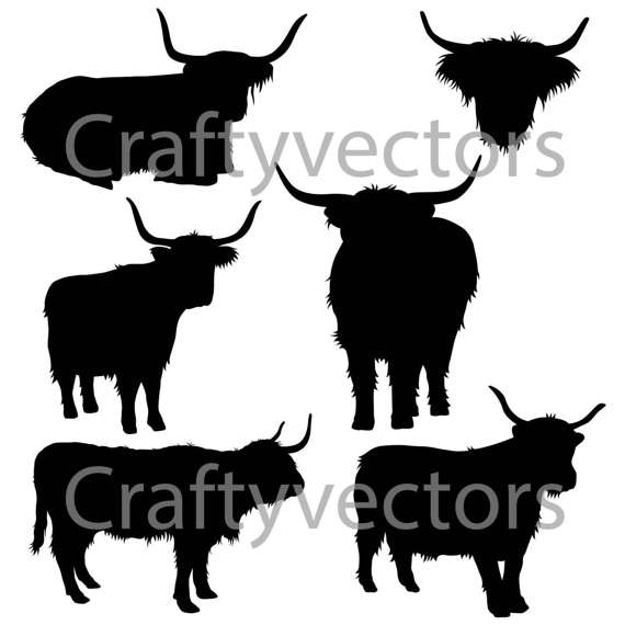 570x570 Highland Cow Silhouettes Vector File Svg