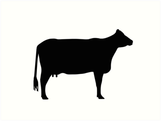 549x413 Cow Silhouette As Sign Or Clipart Art Prints By Naturaldigital