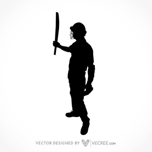 600x600 Sport Silhouette Cricket Batsman Century Celebration Free Vector