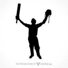 236x236 Sport Silhouette Cricket Batsman Playing Cover Drive Free Vector