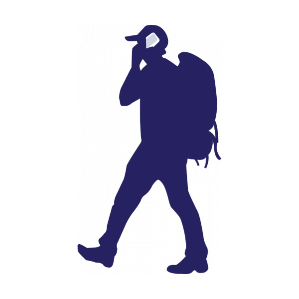 600x600 Backpacker With Phone Vector Silhouette
