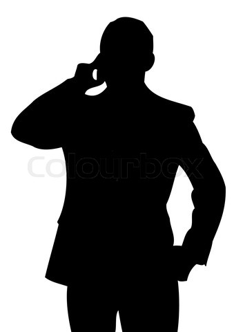 339x480 Businessman With Cell Phone. Silhouette' Silhouette S