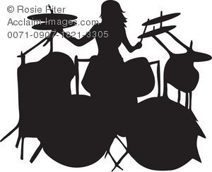300x244 Art Illustration Of The Silhouette Of A Female Drummer