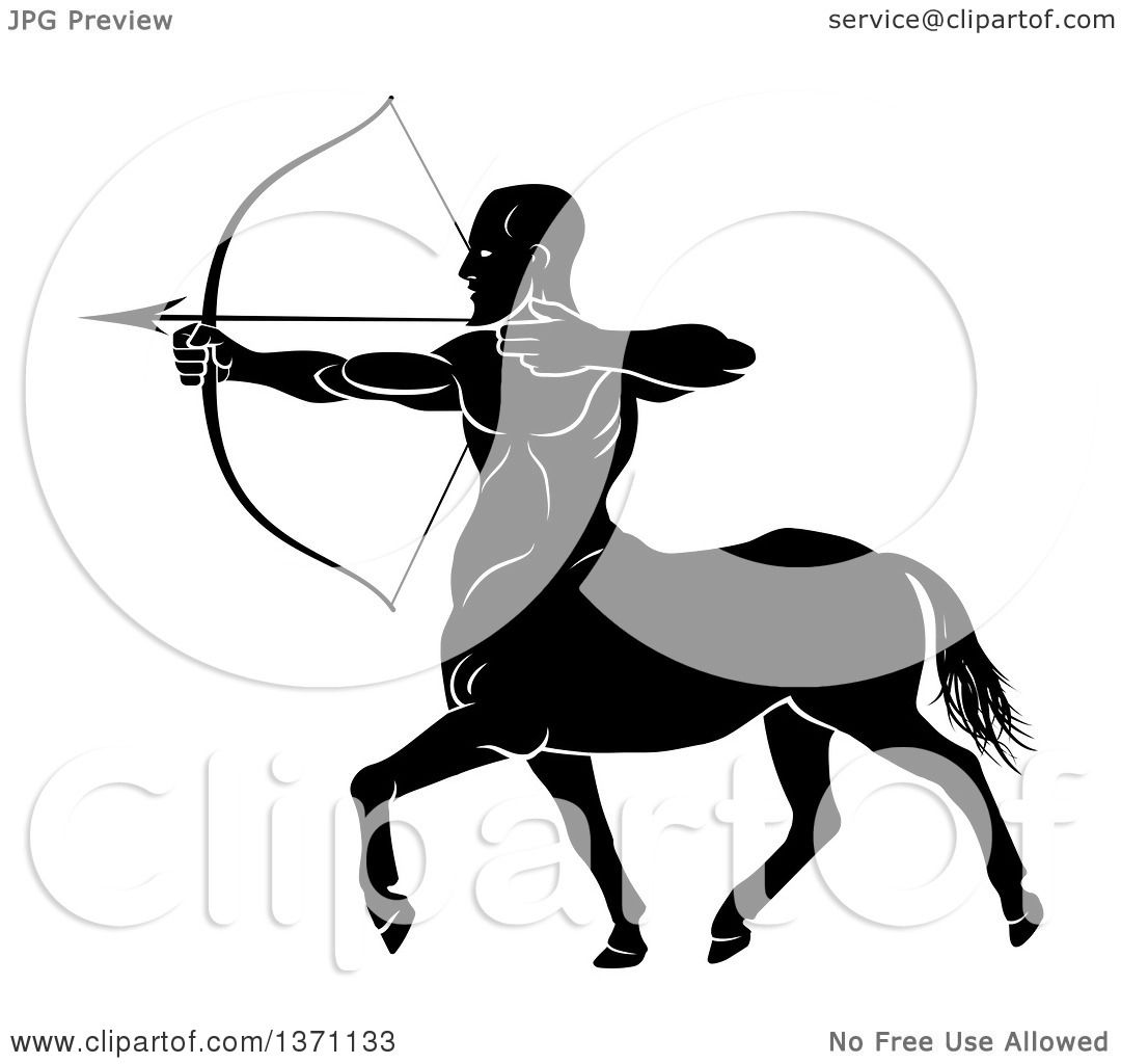 1080x1024 Clipart Of A Black And White Centaur Archer Aiming To The Left