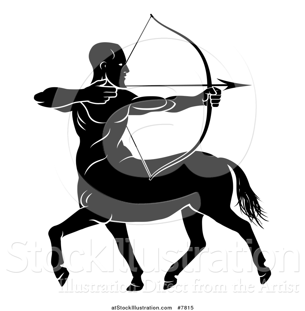 1024x1044 Vector Illustration Of A Black And White Centau Archer, Half Man