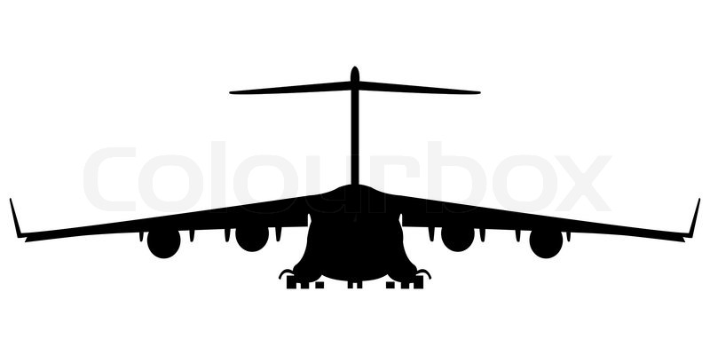 800x400 Hercules Military Airplane Silhouette, Abstract Art Illustration