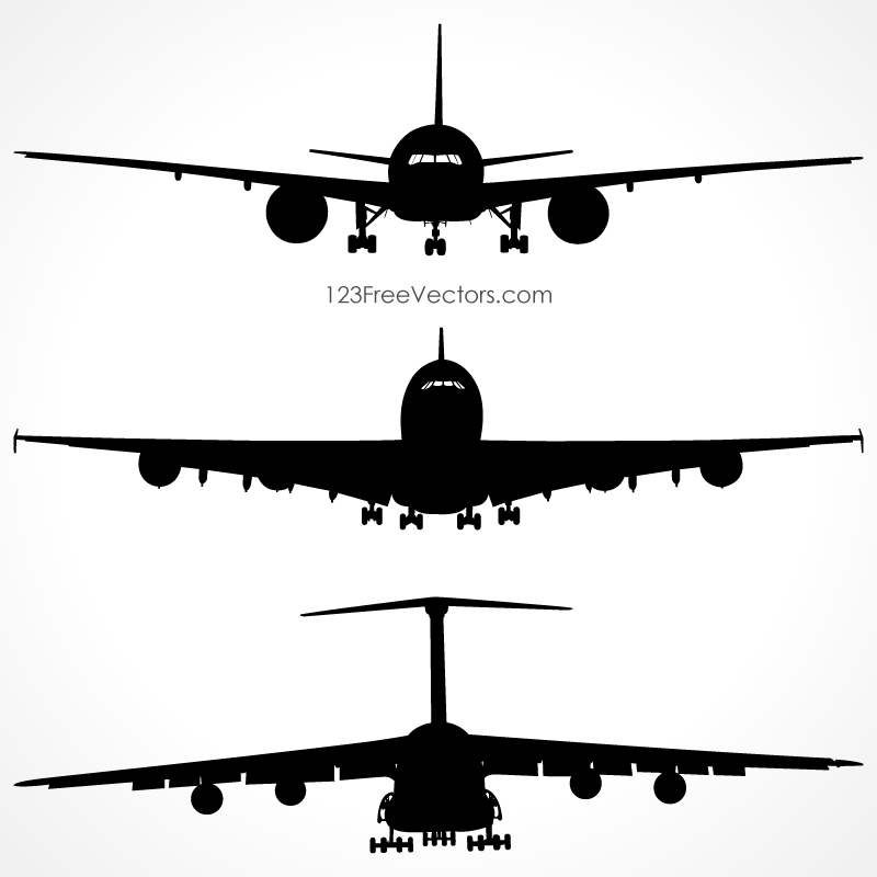 800x800 Airplanes Silhouette Front View Vector Free Aeroplanes
