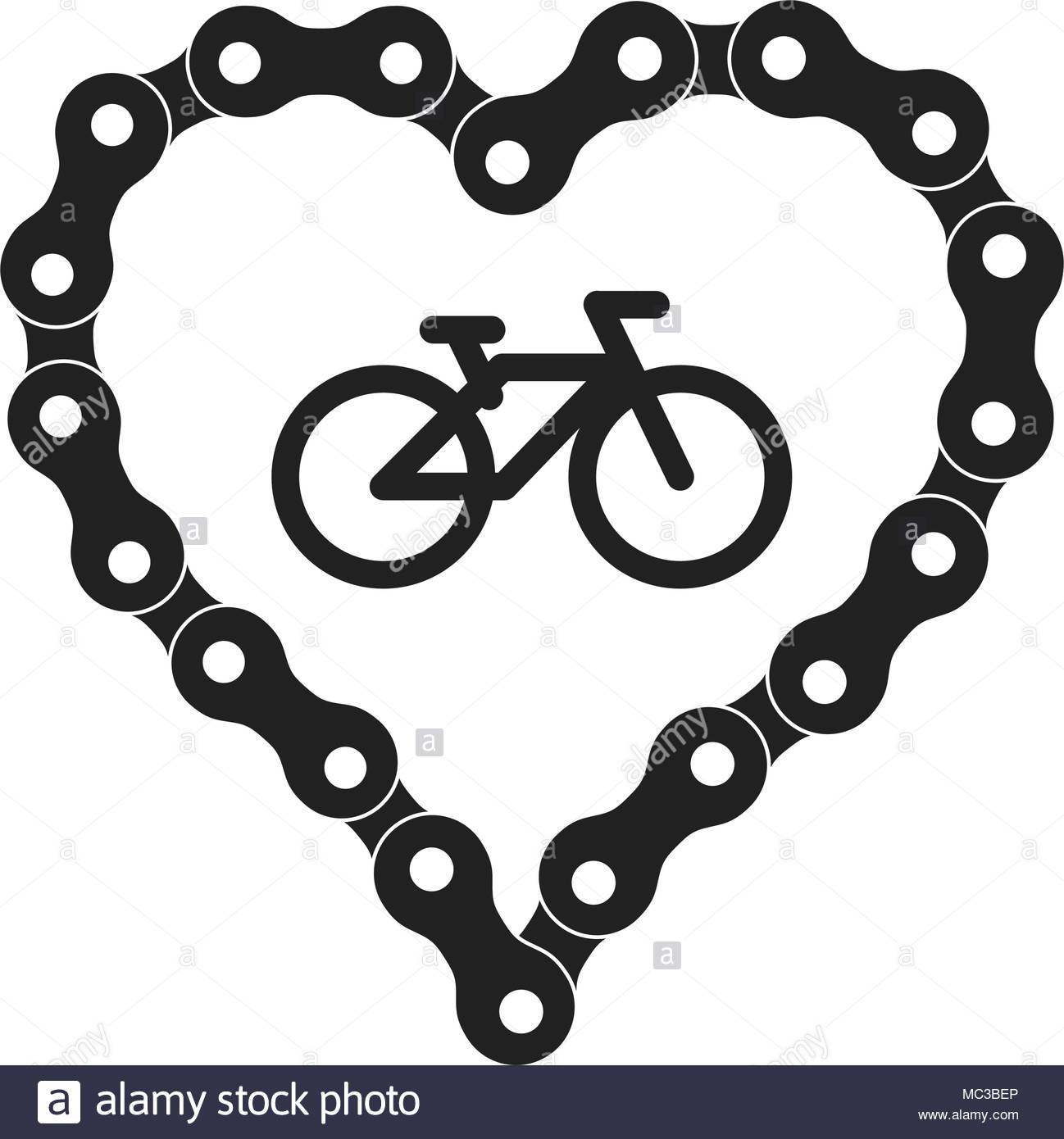 1298x1390 Vector Heart Made Of Bike Or Bicycle Chain. Black Heart Silhouette