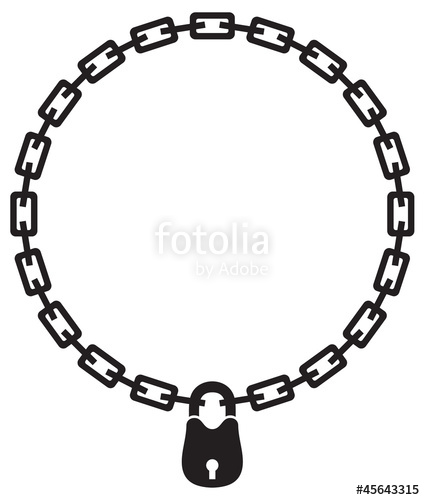 425x500 Illustration Of Chain Padlock Silhouette Stock Image