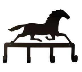 288x252 Wrought Iron Key Chain Holder With Running Horse Silhouette
