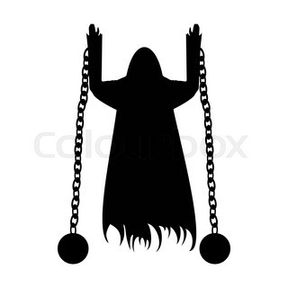 320x320 Flying Ghost In Chains Silhouette Isolated On A White Background