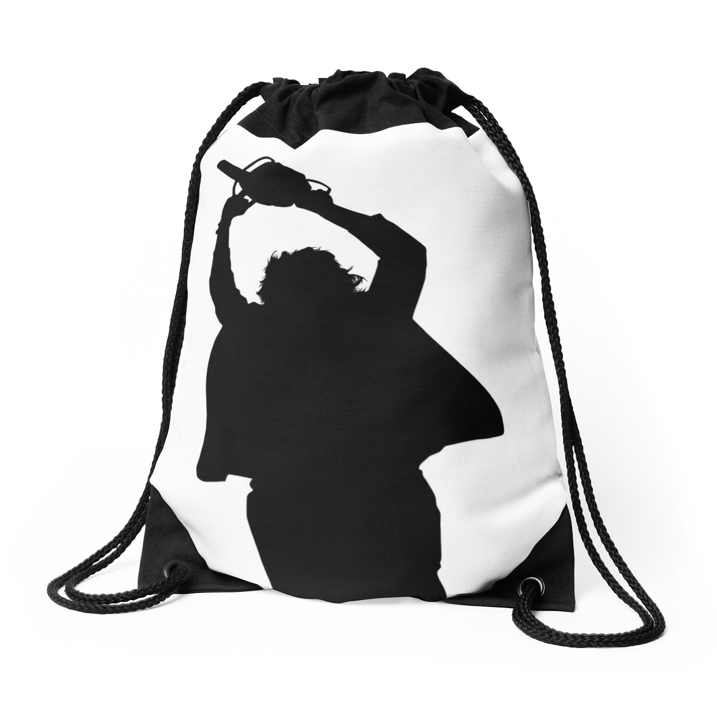1435x1404 Chainsaw Killer Silhouette Drawstring Bags By Firstradiant