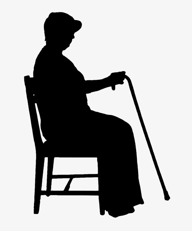 650x781 Crutches Old Lady Sitting On A Chair, Sit Chair Silhouette, Old