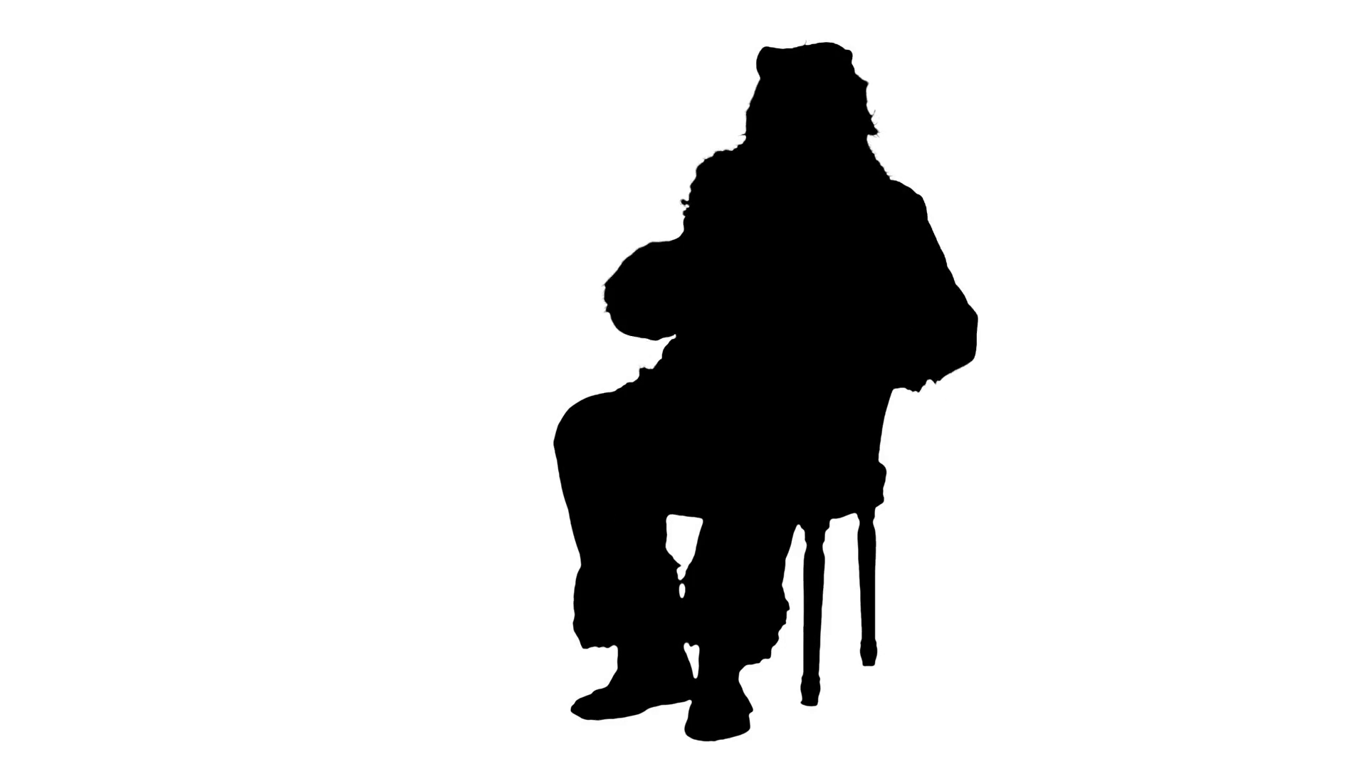 1920x1080 Silhouette Santa Claus Sitting On Chair With Letters In Hands