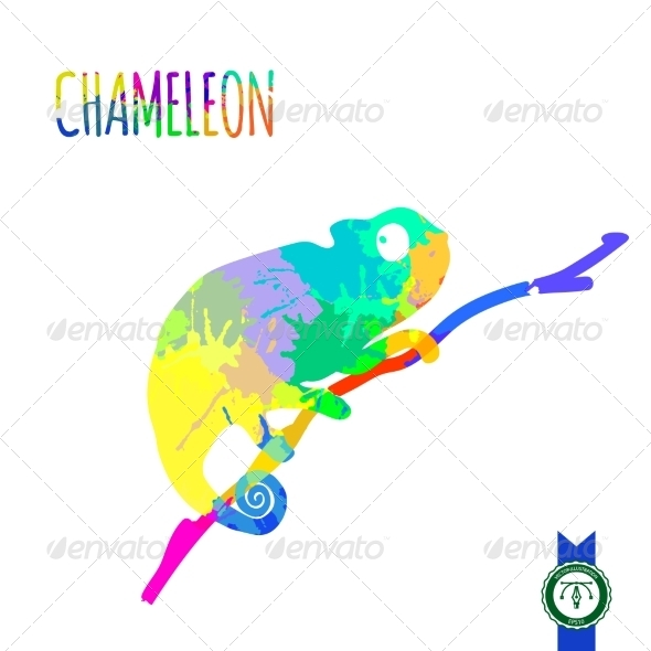 590x590 Abstract Colorful Chameleon Silhouette By Dimair Graphicriver