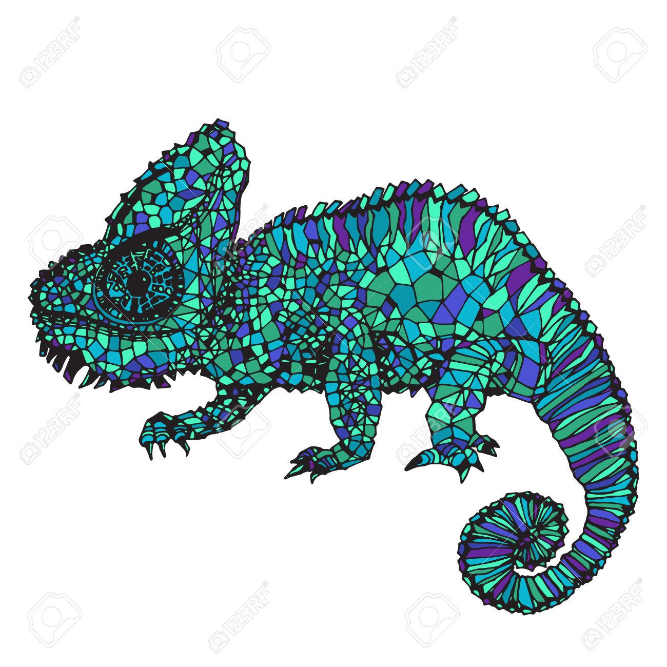 1300x1300 Drawn Chameleon Doodle