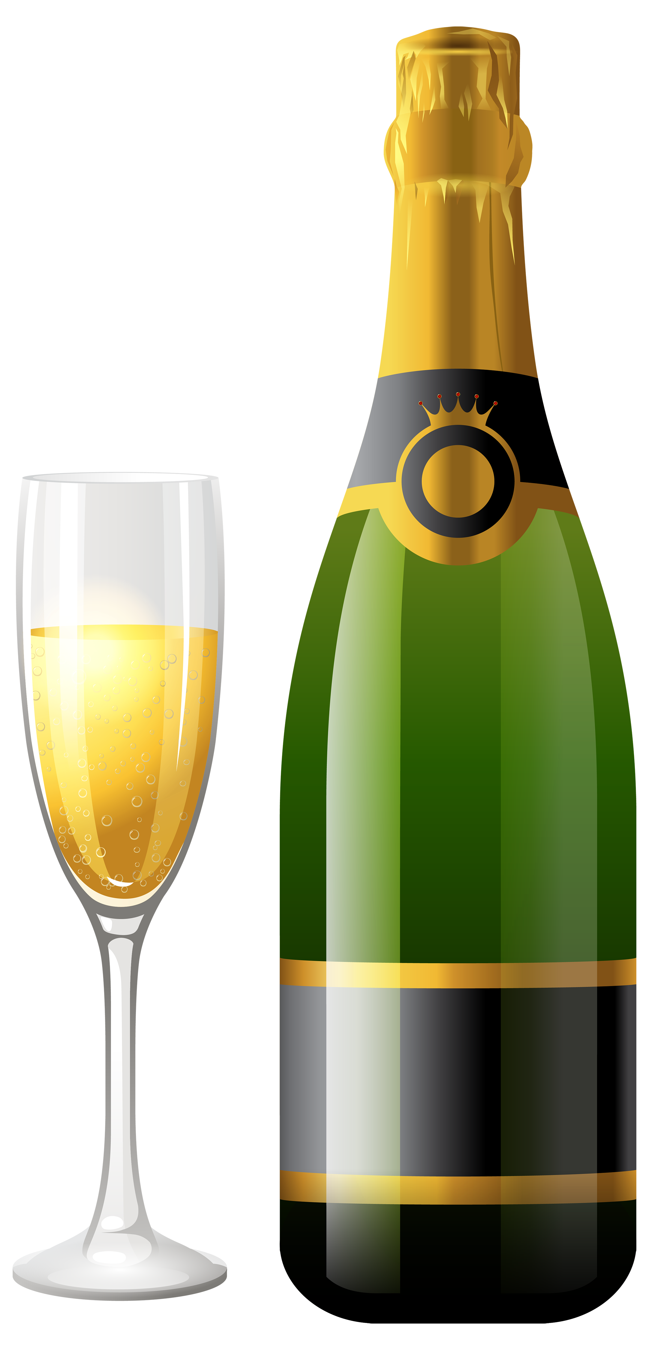 2163x4500 Champagne Bottle With Glass Png Clipart