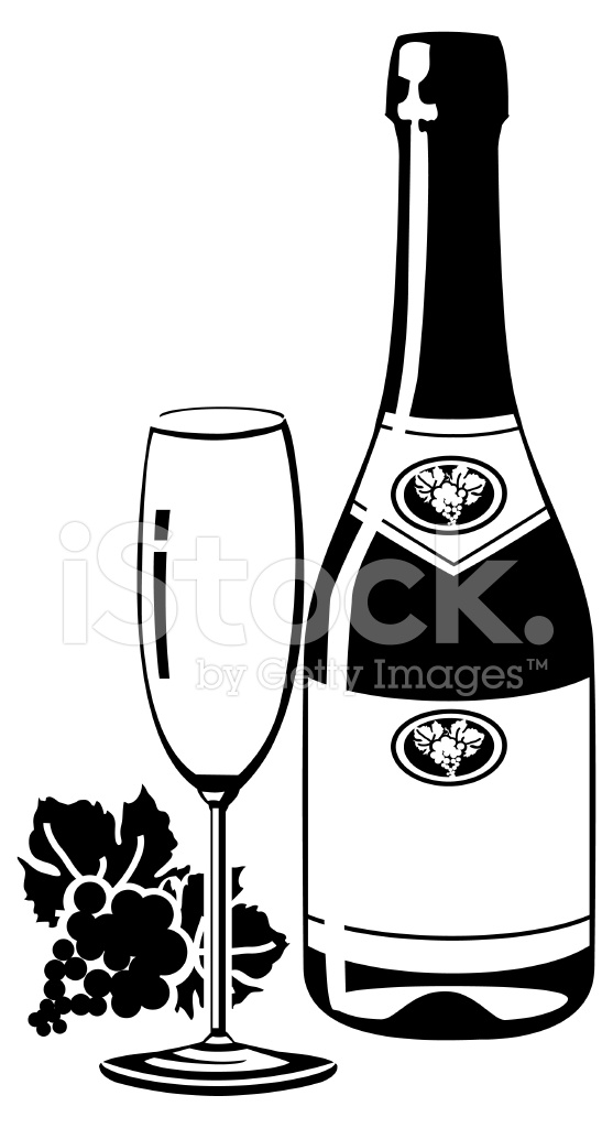 557x1024 Sparkling Wine Bottle Silhouette With Glass Stock Vector
