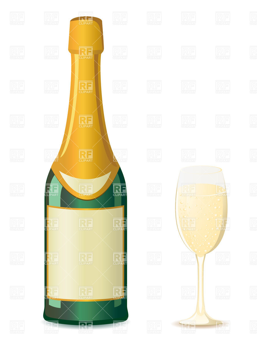900x1200 Bottle Of Champagne And Wineglass Royalty Free Vector Clip Art