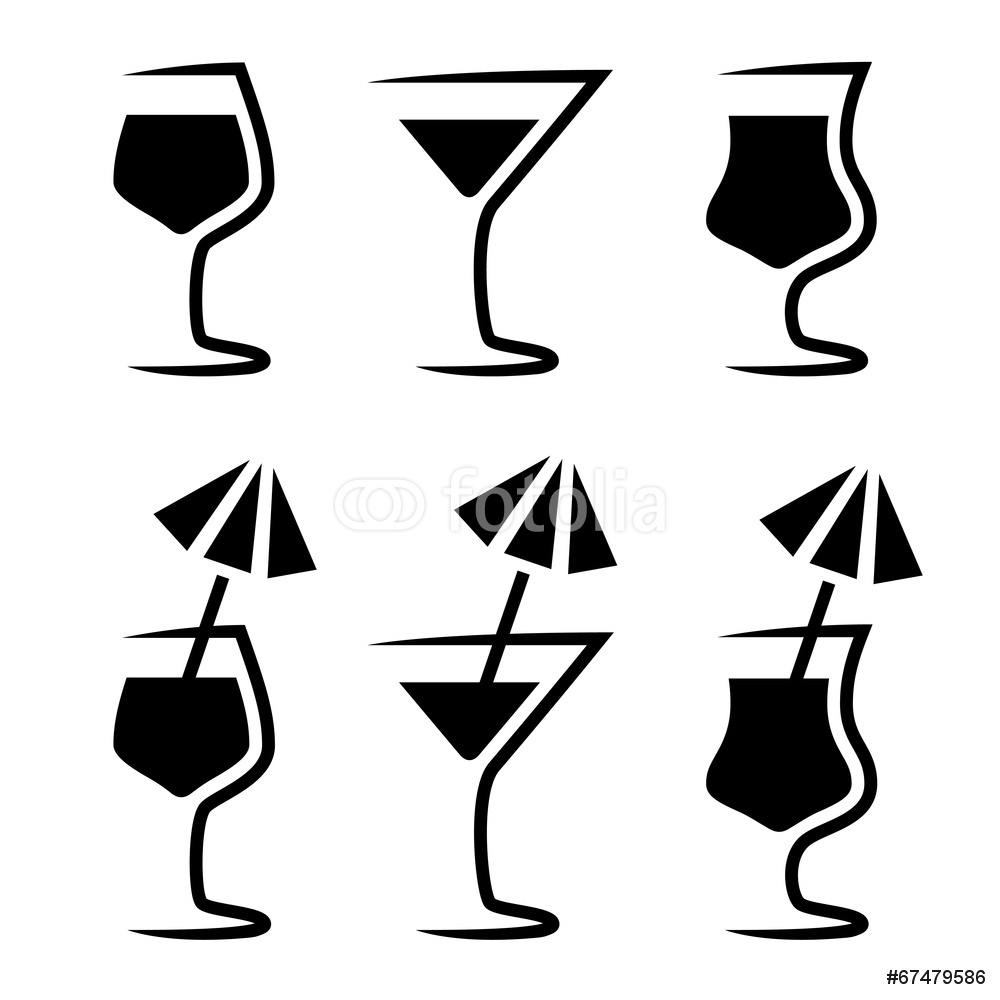 1000x1000 Cocktail Glass Silhouette Parasol Wall Sticker Wall Stickers