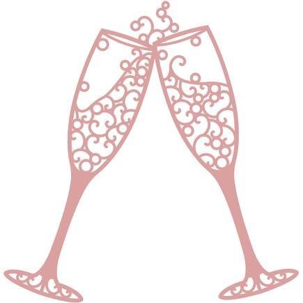 435x435 Intricut Champagne Glasses Die 11.1 X 10.9 Cm Champagne Glasses