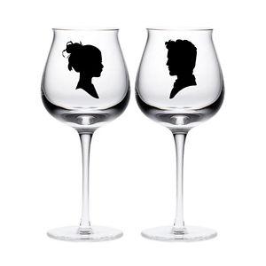 300x300 New 2 Bride Groom Silhouette Couple Wine Glass Vinyl Stickers