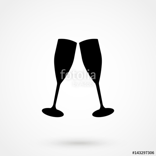 500x500 Champagne Glasses Icon Isolated On Background. Stock Image