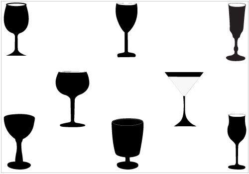 500x350 Clipart White Silhouette Wine Glass
