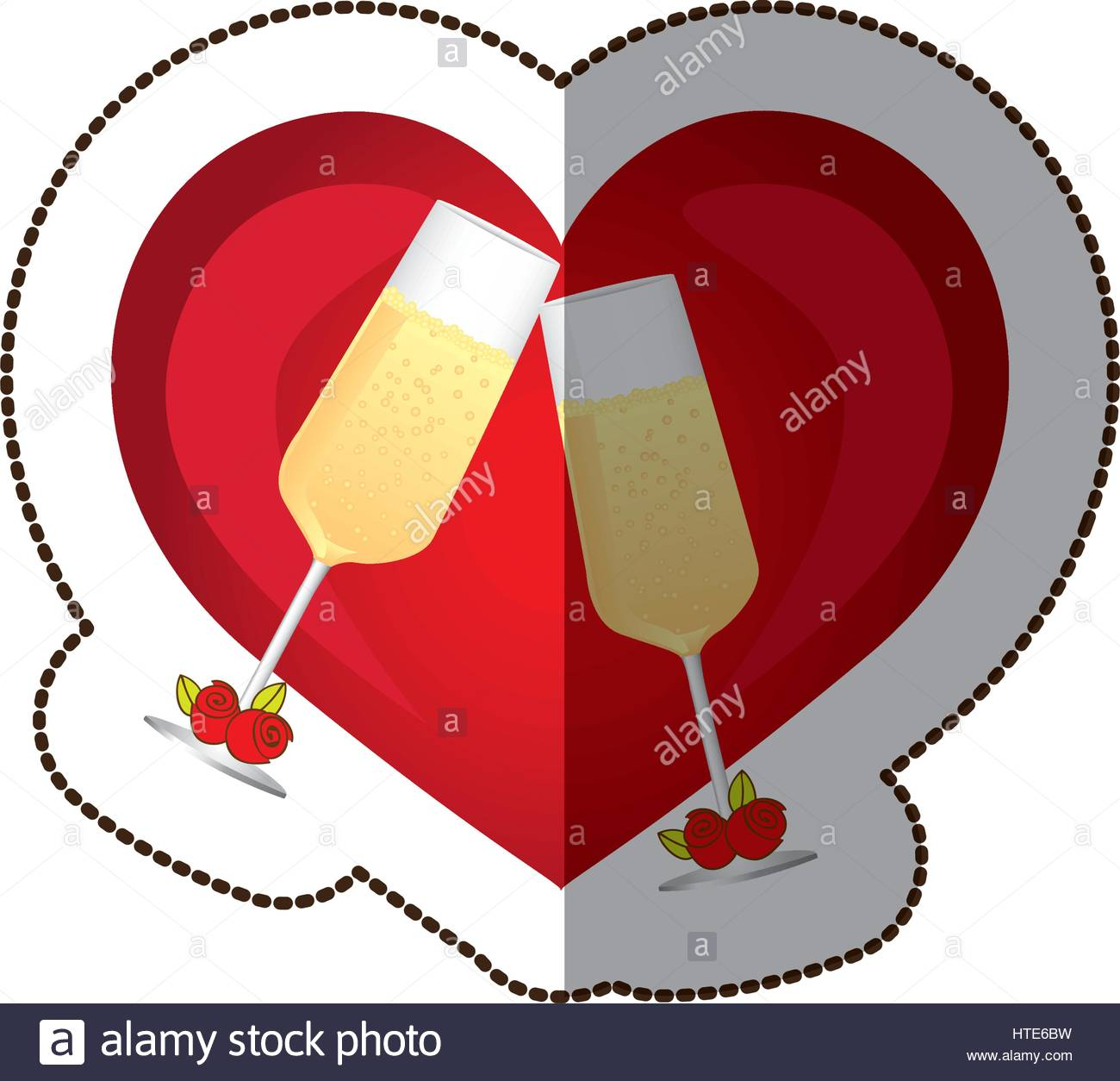 1300x1254 Sticker Colorful Silhouette Heart With Toast Champagne Glasses