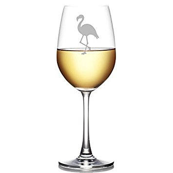355x355 Flamingo Silhouette Engraved 11 Oz Wine Glass Wine