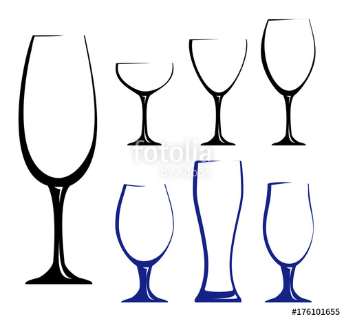 500x463 Different Glass For Wine, Juice Or Beer. Black Hand Drawn
