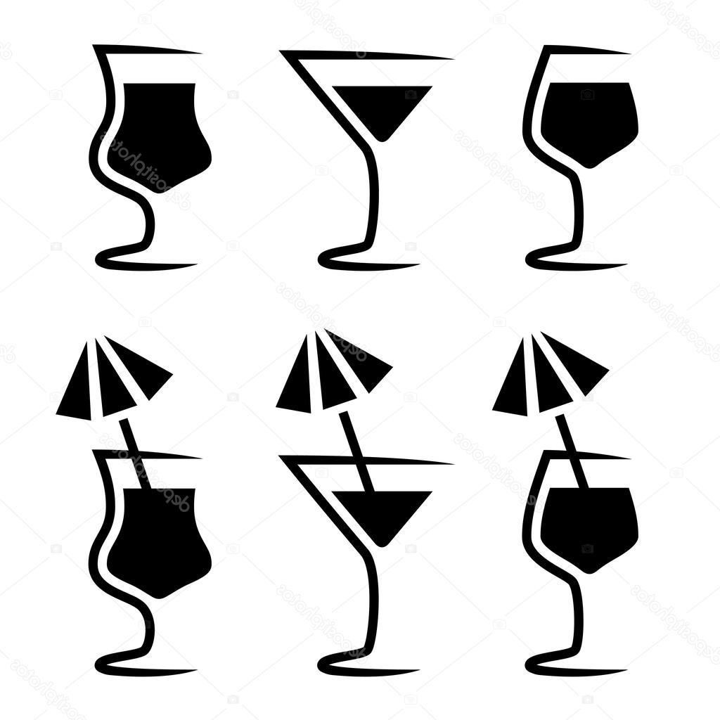 1024x1024 Hd Stock Illustration Cocktail Glass Silhouette With Parasol