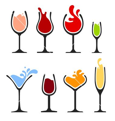 380x400 Silhouette Of Wine Glass With Splash Vector Creatieve