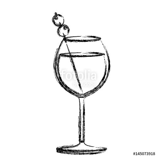 500x500 Monochrome Sketch Silhouette Of Burgundy Glass Cocktail With Olive