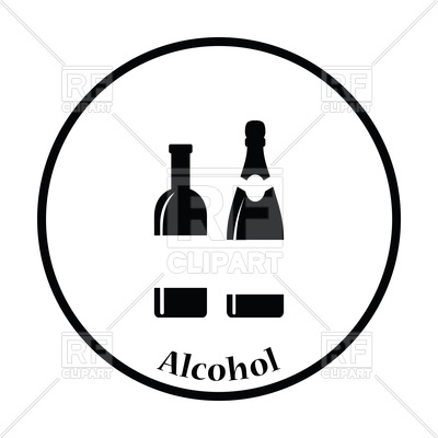 400x400 Wine And Champagne Bottles Icon Royalty Free Vector Clip Art Image