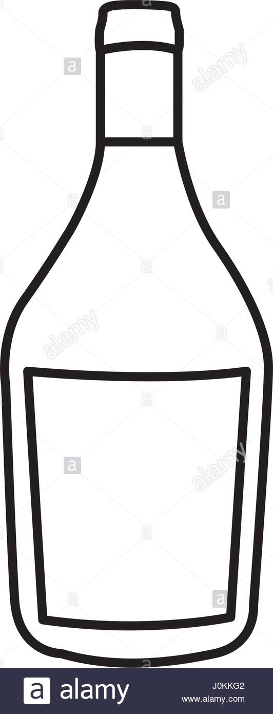 532x1390 Silhouette Wide Champagne Bottle With Label Stock Vector Art