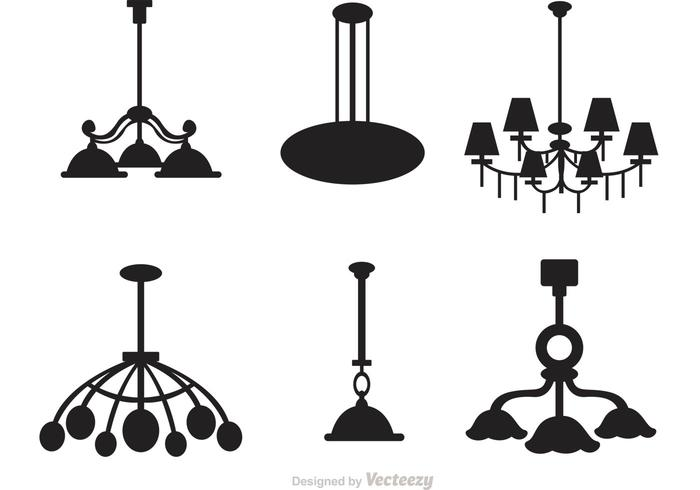 700x490 Chandelier Silhouette Vector Set