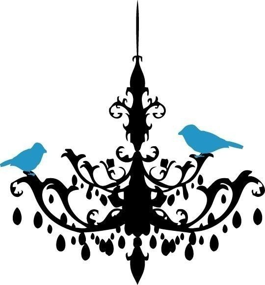 540x579 Chandelier Vinyl Decal Wall Sticker Silhouette Vinyl