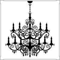 200x200 Baroque Chandelier Silhouette Stock Vectors