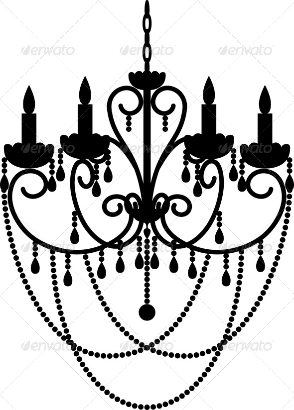 590x824 Black Silhouette Of Chandelier With Beads By Prikhnenko Graphicriver