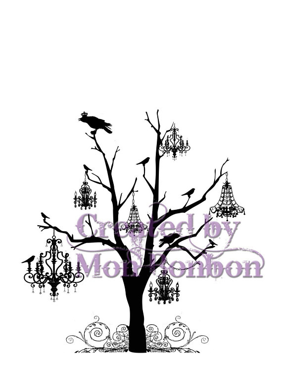570x738 Digital Download Wicked Tree With Crows And Chandeliers